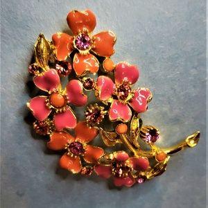 Orange & Pink Floral Brooch accented w/ Rhinestone